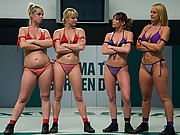 Four naked girls fight in the only competitive TAG TEAM wrestling league on the NET! Non-scripted action in front of a live audience.