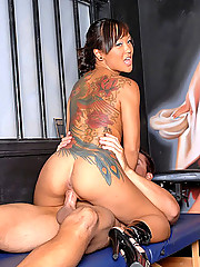 Amazing hot ass japanese babe gets fucked in the tattoo parlor after getting her ass tatted up in these hot pics