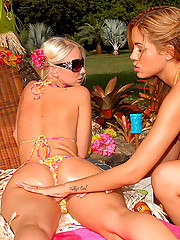 Check out these hot fucking big tits lesbos share their hawaiin party pussies in these hot dildo fucking pics
