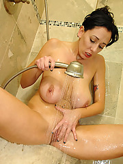 Sexy mature lady takes her time to cleanse her curvaceous cougar body in the shower