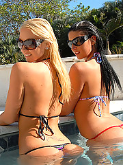 2 amazing hot fucking big tits porn star babes eat eachother out at the pool and in the tub in these hot wet fucking lesbo pics