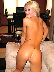 Nude on the new leather couch