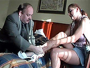Young beauty screwing a much older senior man
