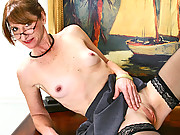 Anilos office woman takes off her clothes to play with her hot pussy