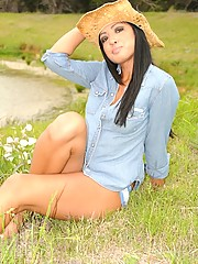 Cierra is one hot little cowgirl and strips her outfit off by a field