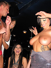 Busty office sluts get together for lunch at the club and fuck stripperboy