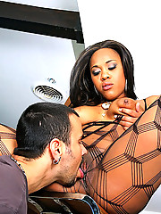 Amazing plump ass fish net stocking ebony babe gets her hot fucking body drilled hard against the bar in these hot fucking cumfaced hot pics