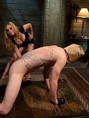 Slaveboy is objectified, fucked and fed his own cum by hot blonde dominatrix!