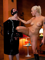 Gorgeous blonde bitch makes pussy boy worship her boots and milks his pathetic dick till he blows his load on her beautiful feet!