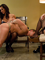 Two sexy dominatrices use a piece of slaveboy meat to get off then completely tease and deny him pleasure and release!