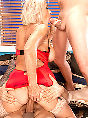 First Time On Camera! Georgette Fucks Two Men!