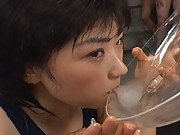 Shinobu Kasagi sits on guy and drinks the stored cum from a plate