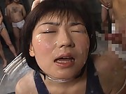 Shinobu Kasagi Asian teen is fucked while cum covered at party