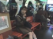 Mikan Japanese teen is showing her hot body in the game arcade