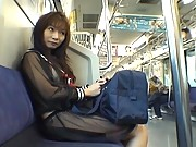 Mikan Hot Asian teen is on the train in her hot sexy blue dress