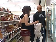 Miku teases the guys shopping at the store with her body