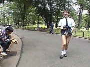 Asian schoolgirl Sonan flashes the homeless in the park