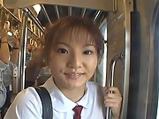 Schoolgirl Miku flashes her pussy to the guys on the subway