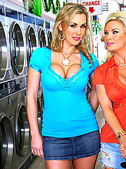 Check out these 2 hot mini skirt babe get fucked in the laundry mat in these hot group sex reality fucking pics