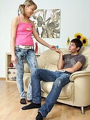 Hot teenage cutie ravaged anally on the couch