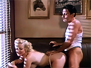 Cute vintage blonde sucking his stiff cock