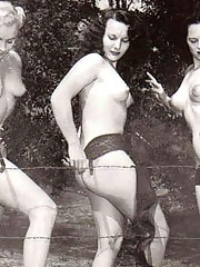 Real vintage sexy babes are playing outside