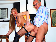 Hot cutie pleasuring a horny old british guy