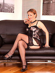 Gorgeous Anilos Tiffany makes her toy slippery and fucks her sweet twat on the couch