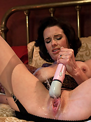 Hot Squirting MILF machine fucked until multiple jet stream orgasms soak the bed, the dongs and floor. Damp, juicy orgasms from her unstoppable pussy