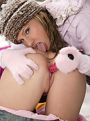 Two hot teenage lesbians playing in the snow