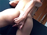 A horny latina chick masturbating with finger