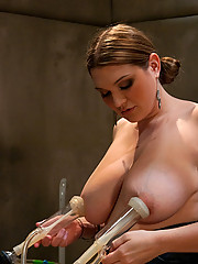Large titted 36FF natural breast babe gets machine fucked, her tits sucked by goat milker cups that hickey her nipples, has great orgasms.