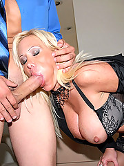 Piercing blue eyed big tits hot ass blonde gets drilled hard against the office desk in these hot fucking pics