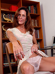 Office MILF Sherry W from AllOver30 spreading and fingering pussy
