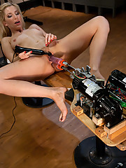 Blonde perfect tit barbie looking hottie gets Double stuffed by twin fucking machine. Simultaneous fucking of both her tight holes until she cums hard