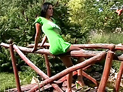 Sexy hot teenager banged on a bridge outdoors