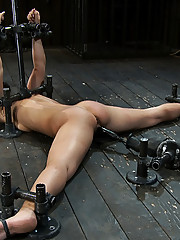 Two gymnast detained, bound and tortured by evil couple.  Both tickled fucked and made to cum.