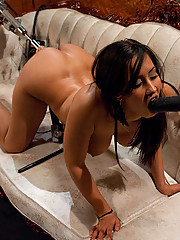 Isis Love squirting while machine fucks her pussy, she gapes from 8 inch dick, screams while cumming, soaks the couch and herself with pussy juices