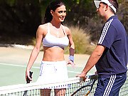 Hot brunette fucks on the tennis court
