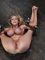 Katie Kox and her massive 34FF boobs, bound and made to squirt all over herself!