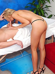 Hot 18 year old blonde gives a sexy massage and a happy ending!