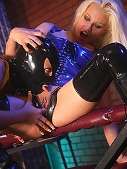 Latex lesbian babes fingering eachothers wet willing pussy