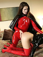 Beautiful latex babes performing in exciting bedroom session