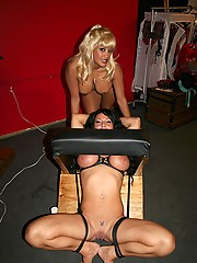 Lesbian babe tied up for revenge on having an early orgasm