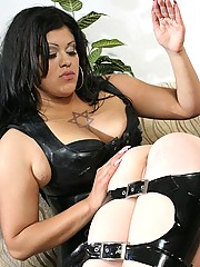Devoted little slave getting spanked by her busty mistress