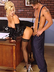 Jill Kelly hot secretary in stockings fucked hardcore