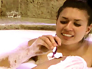 """Eva Angelina takes a bath and gives the camera man an interview"""