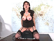 Lady sonia rides a sybian machine