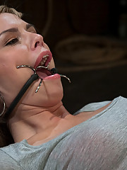 19 year old blond get bound gagged and made to cum!  Nasty clothespins all over her nipples and breasts!