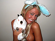 Jacky naked and playing with her bunny